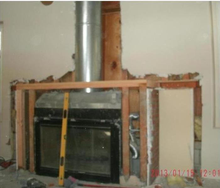 Torn out fire place